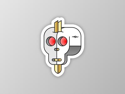 💀 🔪 illustration vector skeleton gold sticker sword skull
