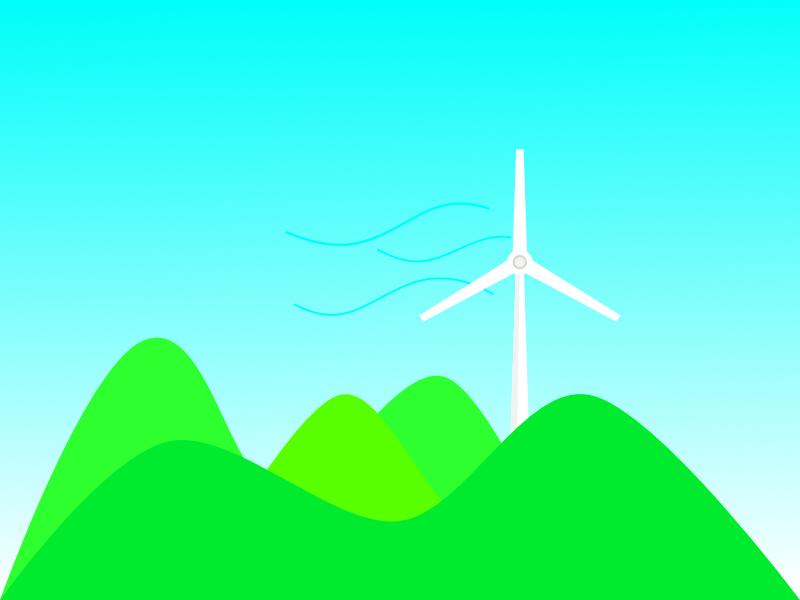 Alone Wind Turbine apple pencil ipadpro design vector illustration ipados green blue sky turbine wind hills