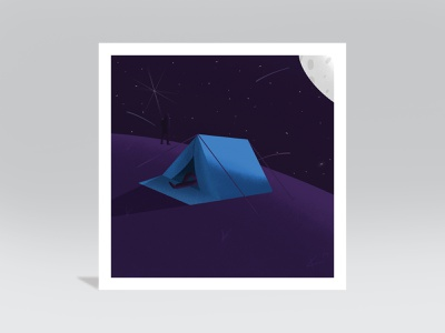 Camp landscape shadow shadows shading texture purple blue mountain hill planet star space moonlight moon shootingstar people camping tent stars camp