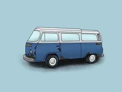 Big Blue Volkswagen wheels tires white blue poster art illustration bigbus texture moto motorvehicle vehicle car rustbus rust hippie bus bus vw vw bus volkswagen