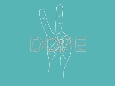 Dope. design minimal kreslet procreate simple illustration hand illustration line art line orange white teal peace sign hands hand typography type peace dope