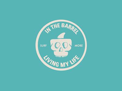 In The Barrel design illustration sketch life living wave pitted barrel board sticker surf more surf boarding surf fin skull