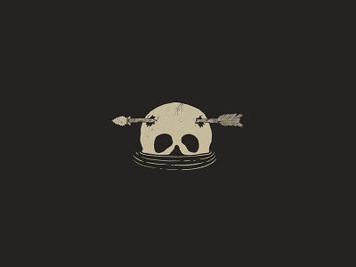 Drowning broken broken skull water arrowhead arrow black line art skull sketch minimal design kreslet procreate simple illustration
