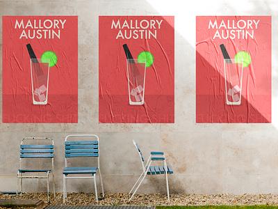 Mallory Austin comedy show poster comedian comedy psoter microphone mic drink vodka cranberry vodka cranberry red minimal design sketch procreate kreslet simple illustration