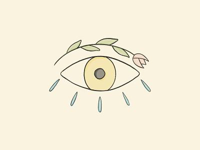 Can You See Me print freelance design procreate eyeball line art line inking traditional editorial tear sketch design plant flower tuip thirdeye