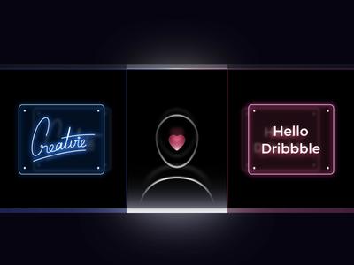 Creatvie - Hello Dribbble after effects vietnam dribbble icons debut dark icon animation neon intro design illustration