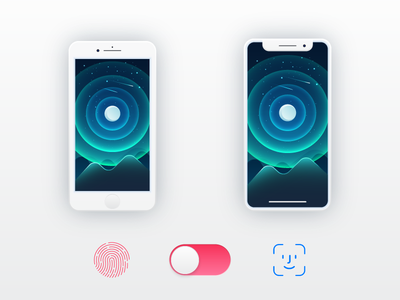 Touch ID - Vs - Face ID face id touch id illustration iphone x iphone