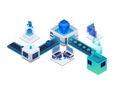 Data transform into Money automatic money data robot isometric motion character illustration after effects animation