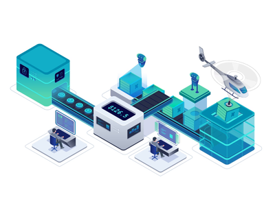 Package and delivery process automatic data robot helicopter isometric design motion character illustration animation after effects
