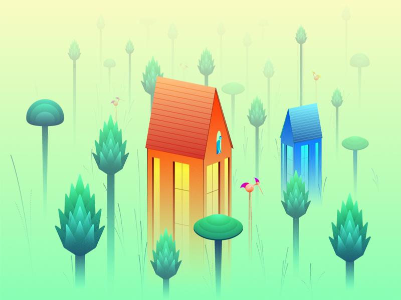 The Garden 🌲🏡🍄 plants tree mushroom dream house scenery landscape garden colors