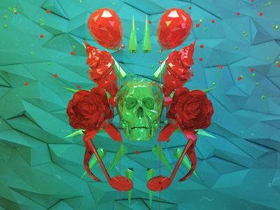 Birthday night  illustration 3d cinema4d photoshop modelisation light red green skull