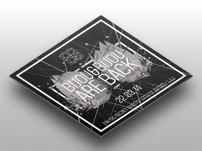 Bijou & Bijou Flyer print 3d render black geometric perspective square