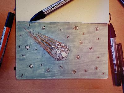 Stellar brush pen poly low color concept sketch stars