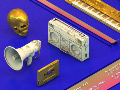 Music is a religion synth tape boombox gold blue colors c4d render 3d music
