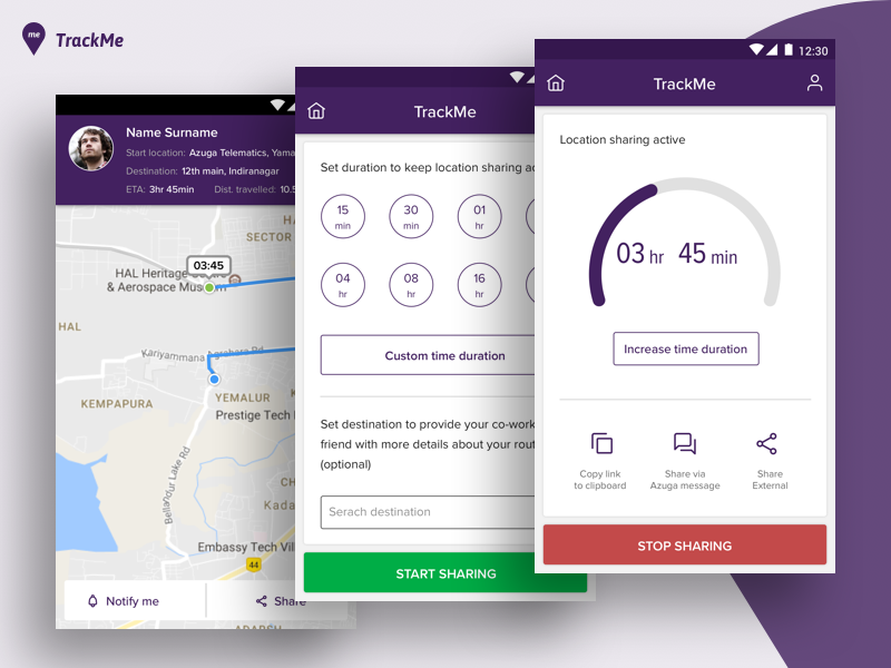 Location Sharing App application design ux ui sharing mobile timer map location app tracking