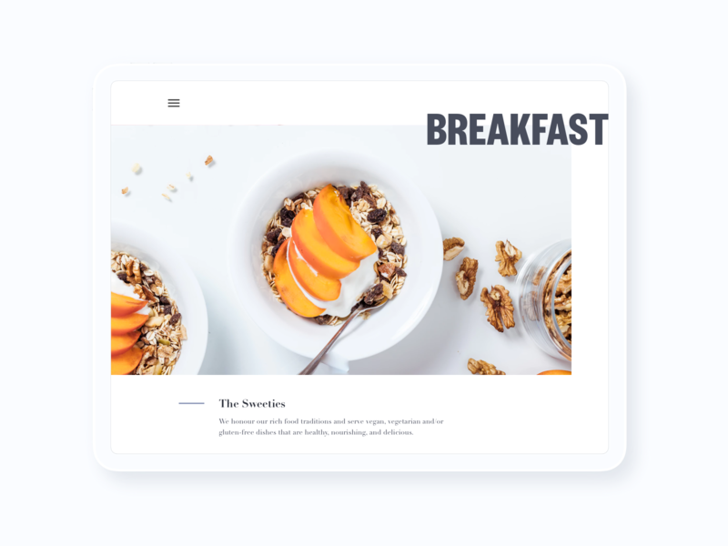 Breakfast homepage food ipad white black mockup ui design colors