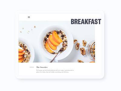 Breakfast homepage food ipad white black mockup ui design colors