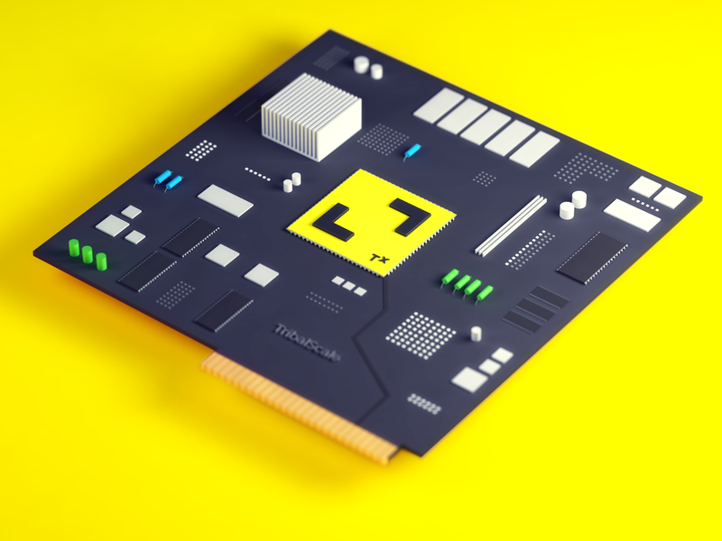 TribalScale Transformation Chip yellow c4d iso isometric illustration design hardware render chip microchip 3dart 3d