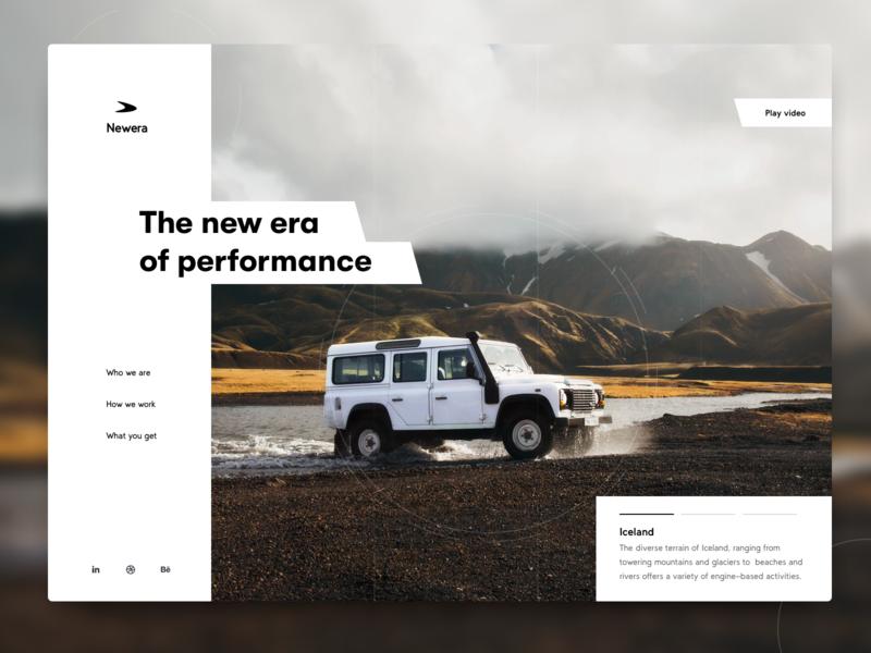 Newera Performance new performance white clean landscape defender iceland sketch website nature car webdesign web ui design