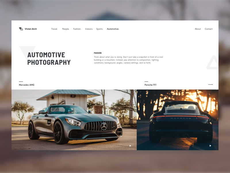 Vivien Arch Photography Web photographer porsche mercedes landing site website automotive photography car webdesign web ui design