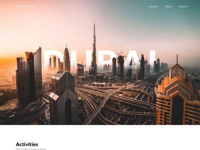 Golden Area Dubai parallax gold camel car travel activities transition dubai motion webdesign ux animation ui design
