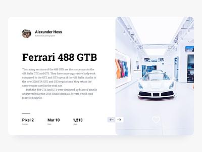 Ferrari 488. Toronto typography photography ferrari toronto clean car app colors design ui