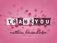 Thanks Matthieu! Hello Dribbble!