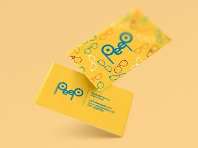 Branding for Peep sunglasses business card graphic design design logo branding