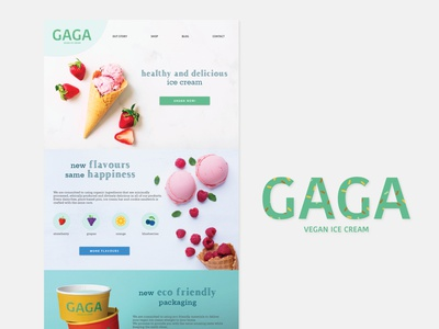 Gaga Ice Cream graphic design design vector logo branding web design uidesign uxui website