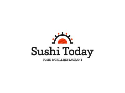 Sushi Today Logo Concept sushi roll sun sushi fish food cuisine restaurant eat japan logo branding utopia logo design identity identity design asian asiatic asia grill fast-food fastfood logo mark mark symbol icon chopsticks china japanese rice seafood