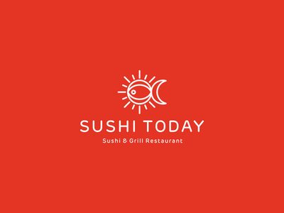 Sushi Today Logo Design Concept 3 sun seafood rice japanese china chopsticks icon symbol mark logo mark fastfood fast-food grill asia asiatic asian identity design identity logo design utopia branding logo japan eat restaurant cuisine food fish sushi moon
