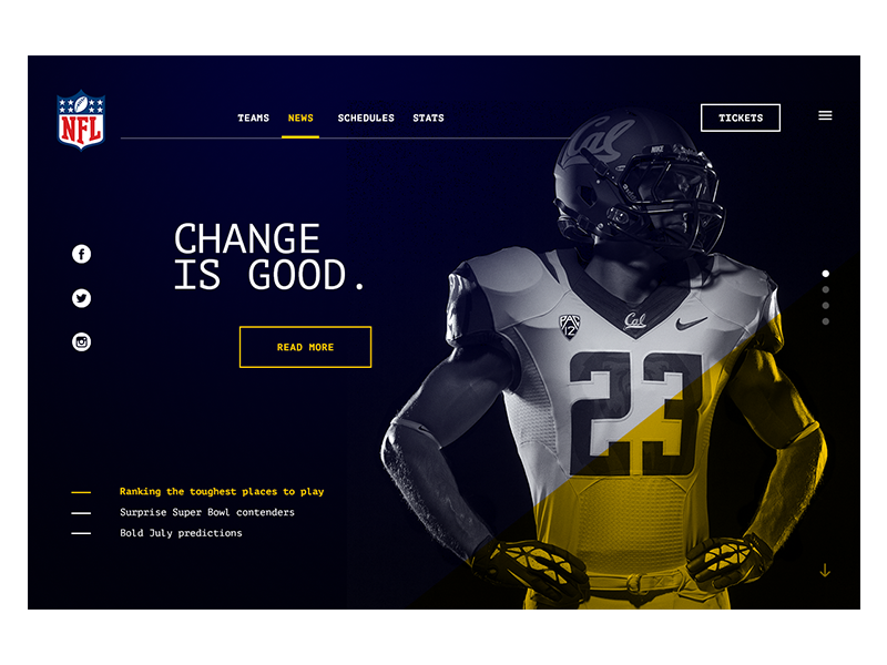NFL Web Redesign desktop web redesign monospaced nfl football sport ux ui