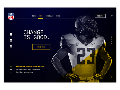 NFL Web Redesign desktop web redesign monospaced nfl football sport ux ui