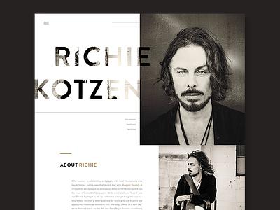 Richie Kotzen Website landing page lifestyle music soul blues rock minimalist ui concept redesign website musician