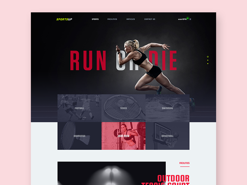 Sports Club Website running healthy gym lifestyle club fitness sports website ui landing page