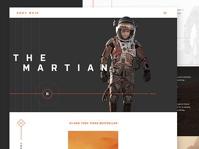 Book Author Website modern redesign landing page martian mars minimal ux ui clean