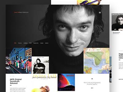 Jaco Pastorius Website punk bass jazz music ux ui dark light clean redesign lifestyle web