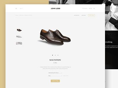 John Lobb - Product Page lifestyle fashion soft clean elegant visual redesign shoes landing ux minimal ui