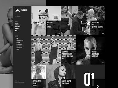 Professional Model Website portfolio fashion model woman beauty web monochrome dark ux landing page redesign ui