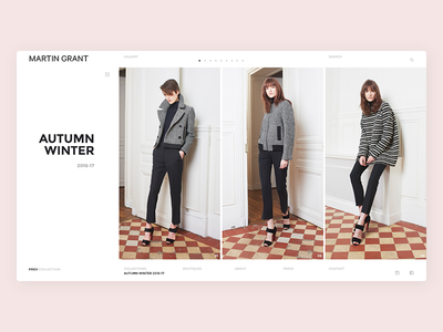 Martin Grant Collections layout simple minimalist white clean designer ux ui website model fashion gallery