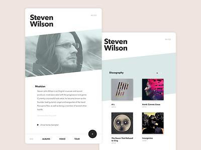 Musician Cards white material app web music artist musician soft minimalism minimalist ui clean
