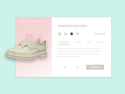 Hender Scheme minimalist product daily ui soft clean ux website ui daily sneaker shoes