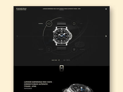 Product Page panerai ui design black elegant luxury fashion military web uiux ui landing page watch