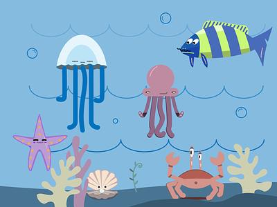 sea inhabitants adobe illustrator dribbble sea animation ui undersea world water starfish pearl octopus ocean jellyfish crab coral fish