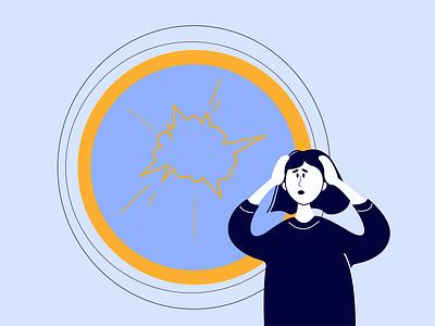 Stressed girl vector branding illustration
