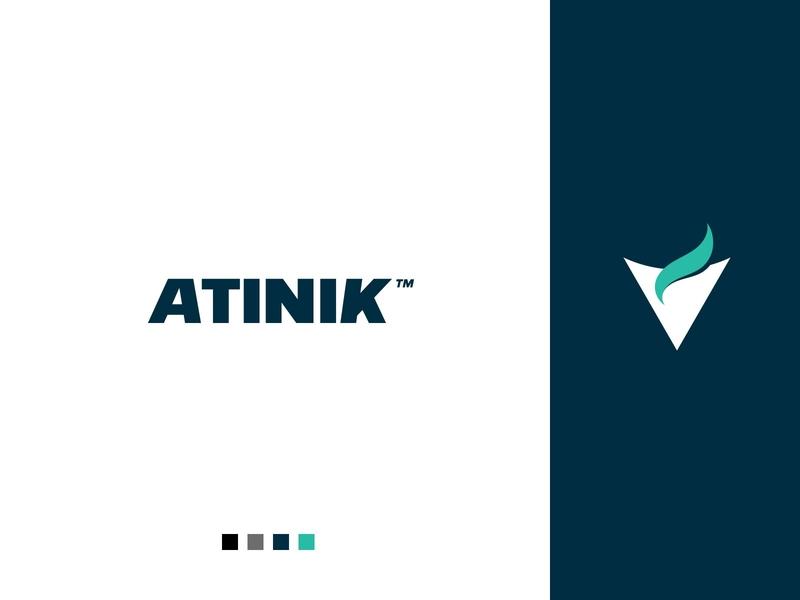 Atinik manufacturer Logo economic green heater heat fire manufacturer branding logo design minimal