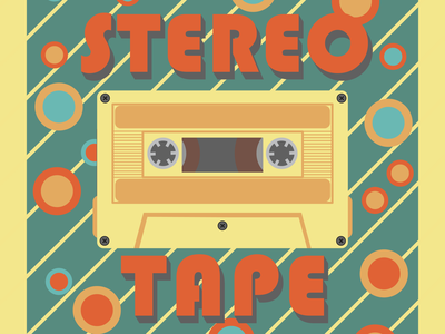 STEREO TAPE redbubble happy friday poster classy cool tape stereotape stereo vintage old music retro ai illustrator design animation ui branding graphic design