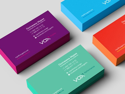 Vox Cards colorful identity logo cards business branding style stationery corporate