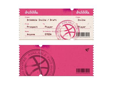 Dribbble Invite x2 invition dribbble draft team ticket invite card
