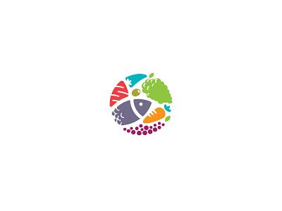 Food logo vegetables icon mark logo food fruite cook sign meat